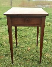 RARE Antique SHAKER CHERRY SPLAY-LEG ONE-DRAWER SIDE TABLE 1800's