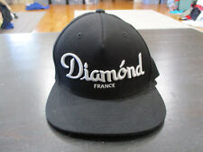 Diamond Supply Company France Snap Back Hat Cap Black White Spell Out Mens