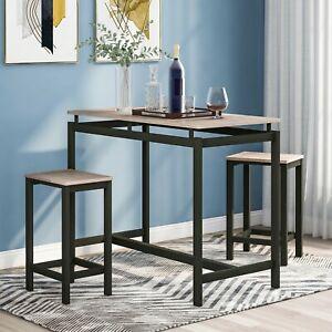 Bartisch-Set Esstisch Stehtisch mit 2 Barhocker schmaler Küchentisch und Stühle