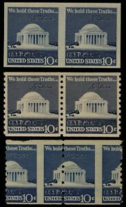 1973 US Scott# 1520b Imperf Pair/1520/1520 Misperf 10 Cent Blue - MNH - Tear on