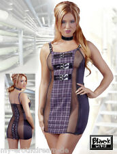 BL BLACK LEVEL Lacquer Mini Dress ~ Dress purple plaid Mesh inserts L 44 / 46