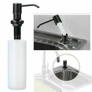 Soap Dispenser for Kitchen Sink Matte Black 1-Hole Deck Mount 220ml White Bottle