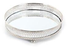 Casa redonda de luces de té sostenedor de vela votiva bandeja de plata de placa de cristal Espejo