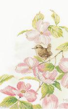 LANARTE  0149989  Pink flowers with a little bird Point de Croix  Compté