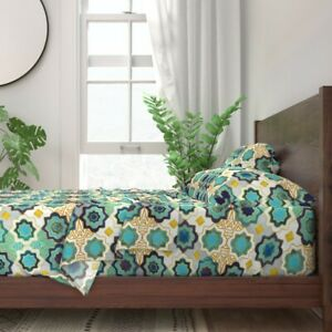 Moroccan Tiles Ornamental Marrakesh 100% Cotton Sateen Sheet Set by Roostery