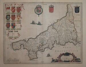 CORNWALL - CORNVBIA SIVE CORNWALLIA BY BLAEU CIRCA 1645