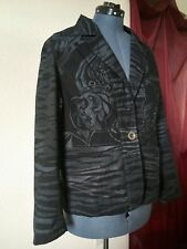 CHICO'S Women's 100% Cotton Jacket in Solid Black Animal Geometric Print Size 3