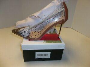 NIB Womens Size 12 FSJ Clear Heels/Pumps w/ Gold Rhinestones Pointy Heels