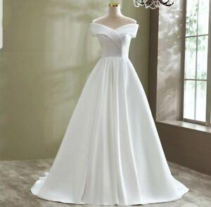 UK Simple White/ivory Off Shoulder Bridal Satin A Line Wedding Dress Size 6-20