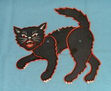 vintage Halloween Small Jointed Cat Decoration cutout diecut