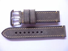 22mm Watch Strap Band with Buckle - 22/22mm Grey Leather Panerai Style