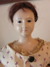 """New ListingAntique French Papier Mache """"Pauline"""" Doll Early 1800's 15"""" Tall Dressed Pink Le"""