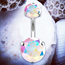SPARKLE Rainbow Crystal Belly Bars Belly Button Bar Navel Piercing Ring Rings UK