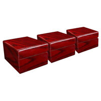3pcs Painted Red Wooden Single Grid Watch Storage Box Display Showcase
