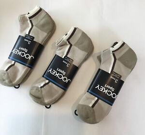 Jockey Lot Of 3 Sport Mens Ankle Socks 9 Pair NWT Size 10-13 Khaki  Beige