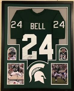 FRAMED MICHIGAN STATE SPARTANS LE'VEON BELL AUTOGRAPHED SIGNED JERSEY PSA COA