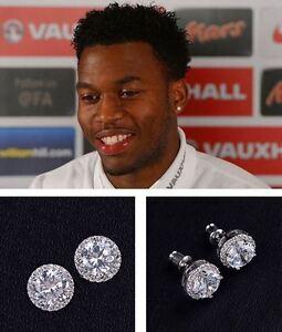 Men's/Boy's: STURRIDGE 18ct White Gold Plate Cubic Zirconia Crystal Earrings