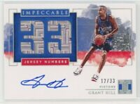 2019-20 Panini Impeccable Grant Hill Jersey Numbers Autograph 12/33 Pistons HOF