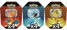 Pokemon HIDDEN FATES Tin 12 caso de estaño! 4 de cada lata!! Sellado en Fábrica!! en Mano!