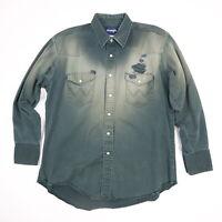 Destroyed Vtg Wrangler Western Shirt XL? Sun Wash Faded Black Distressed Prl Snp