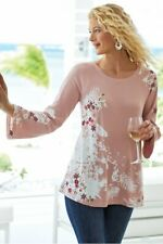 SOFT SURROUNDINGS Beach Ease Pullover L Embroidered Thermal Tunic Top
