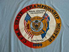 Vtg 80s Long Beach State Championships Fire Fighters T Shirt XL Fireman Naval