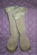 Suede Beige/Tan Mid-Calf Casual Boots Faux Fur Size 6