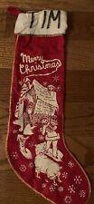 "Vintage Red Felt Flannel Stenciled Christmas Stocking 19.5"""