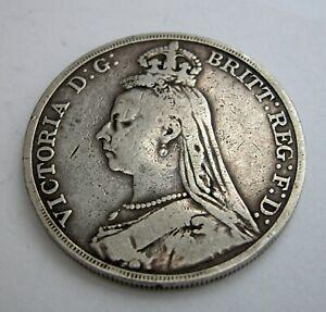 Jubilee Head  QUEEN VICTORIA 1889  Silver CROWN   5/-