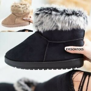 WOMENS ANKLE LADIES WARM WINTER FAUX FLUFFY FUR LINED SNUGG SHOES BOOTS SIZES UK