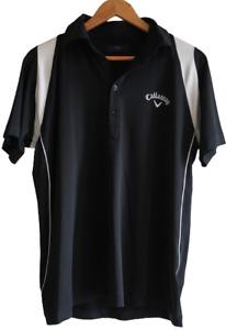 CALLAWAY Sz M Black White Short Sleeve Collared Polo Golf Shirt