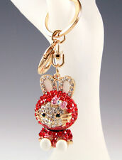 NEW KITTY BUNNY RABBIT RED CLEAR GENUINE CRYSTALS KEY CHAIN BAG PURSE CHARM