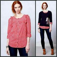 Anthropologie Sold Out 100% Cotton Holding Horses Quadrado Red Gingham Shirt  4