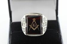 10K White Gold Ruby Red Spinel Masonic Freemason Mason Men's Ring - Size 9.5