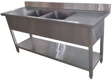 1800mm x 600mm Commercial Stainless Steel Double 2 Bowl Sink Double Drainer 1.8M