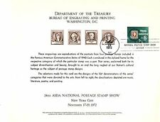Department of the Treasury Souvenir Sheet 24th ASDA Stamp Show in NYC Nov., 1972