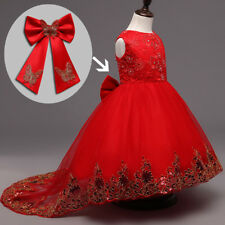 Kids Girls Sequined Lace Dresses Flower Girl Communion Wedding Pageant Ball Gown