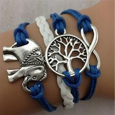 Rope Wishing Trees Charm BraceletA Fd New Retro Infinity Elephant Digit Leather