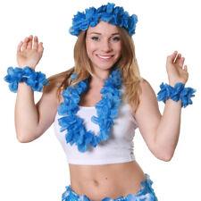 4 PIECE HAWAIIAN LEI GARLAND SET FLOWER NECKLACE HEADBAND BRACELETS FANCY DRESS
