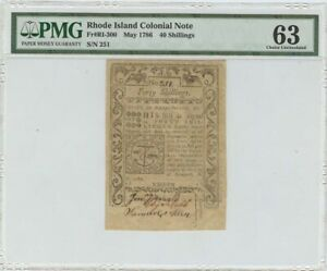 1786 May Rhode Island Colonial FR#RI-300 40 Shillings PMG 63 Ch Unc