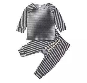 Baby Ribbed Stripe Loungewear Set Grey Age 12-18 Months
