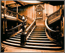 Poster Print: Sepia View: Titanic's 1st Class Forward Main Grand Staircase