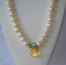 NATURAL 10.09 c CITRINE, SWISS BLUE TOPAZ, WHITE 12-10 mm PEARL NECKLACE