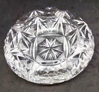 vintage crystal etched heavy glass ashtray