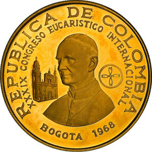 [#867742] Coin, Colombia, 500 Pesos, 1968, Bogota, Proof, MS(63), Gold, KM:234