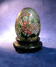 """Cloisonne Plique A Jour Egg Fish Scale with Pink Red Green Flowers Stand 3"""" X 2"""""""