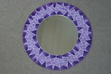 Hand Crafted Mosaic Mirror With Geometric Design Purple Color 50 Cm Wide
