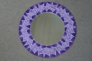 Hand Crafted Mosaic Mirror With Geometric Design Purple Colour 50 Cm Wide