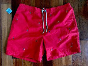 Vintage NWT Polo Ralph Lauren Nautical Embroidered Flags Swim Trunks Sz XXL