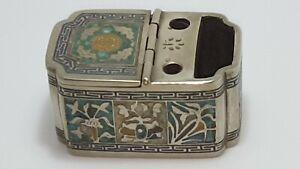 Antique Vtg Chinese Inkwell Cloisonne Brass Metal Enamel, Signed, Desktop/Travel